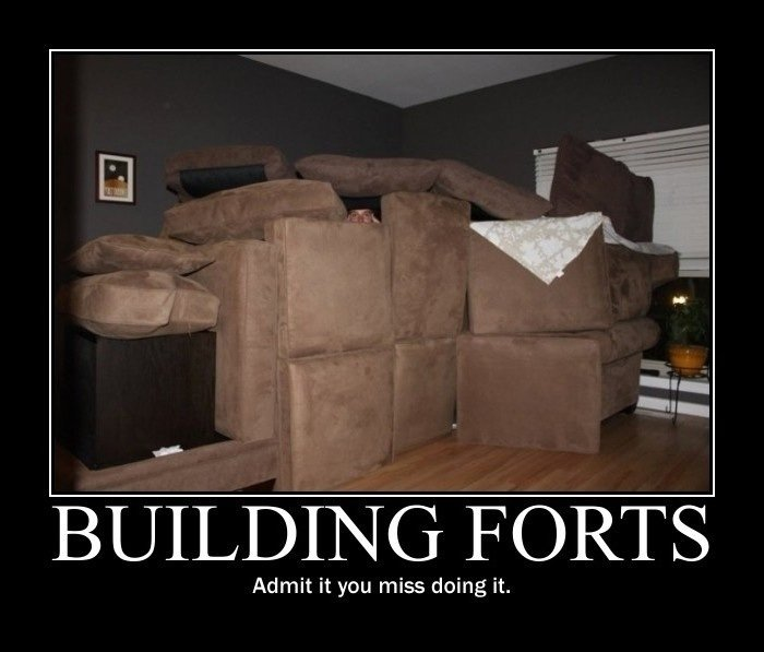Build A Fort Using Only Blankets And Couch Cushions